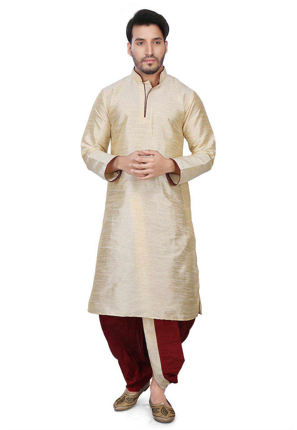 Plain Art Dupion Silk Dhoti Kurta in Beige