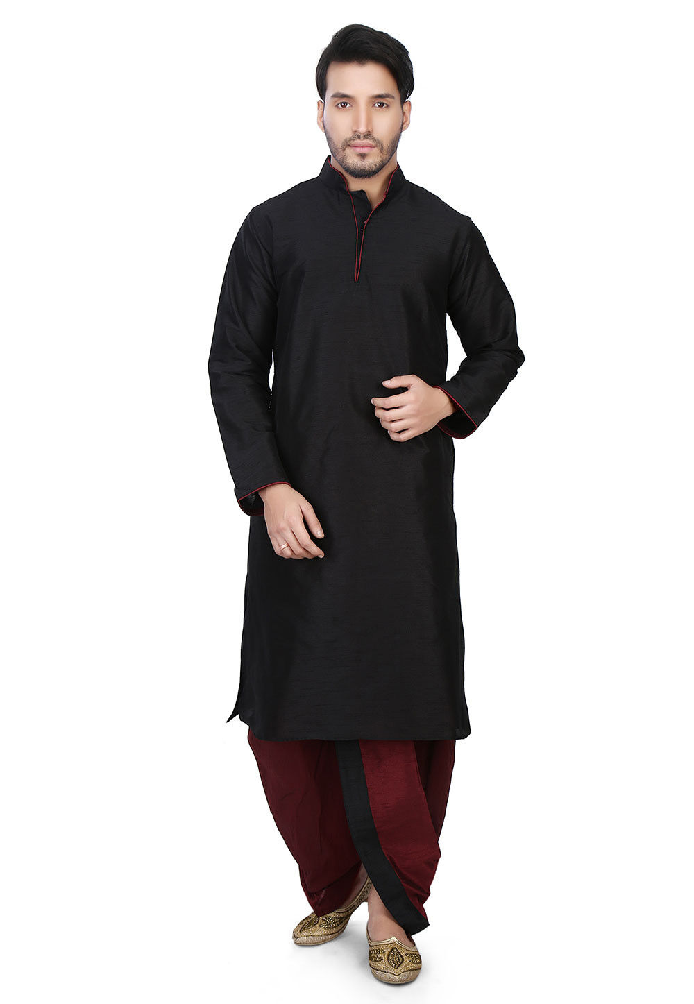 Plain Art Dupion Silk Dhoti Kurta in Black