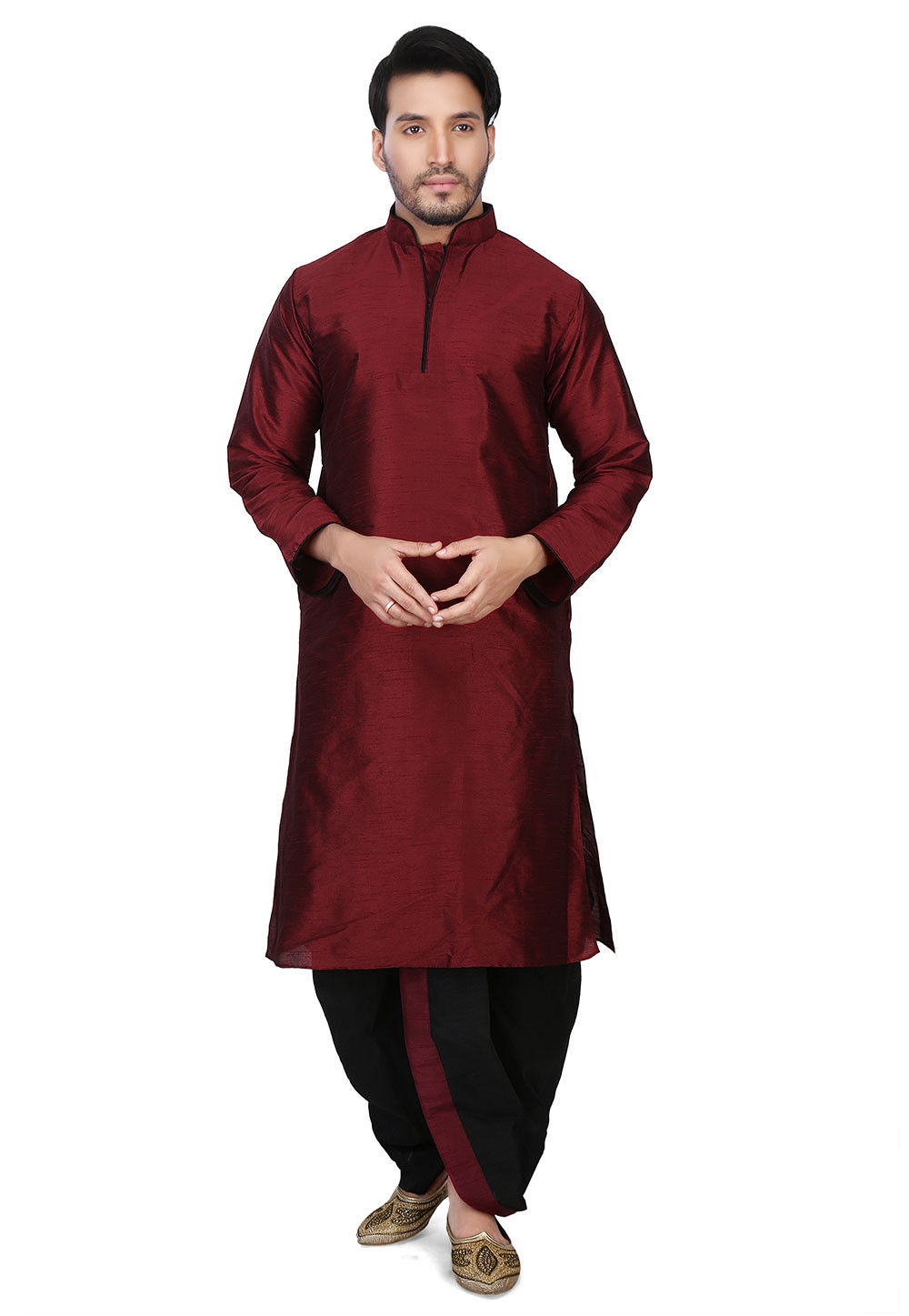Plain Art Dupion Silk Dhoti Kurta in Maroon