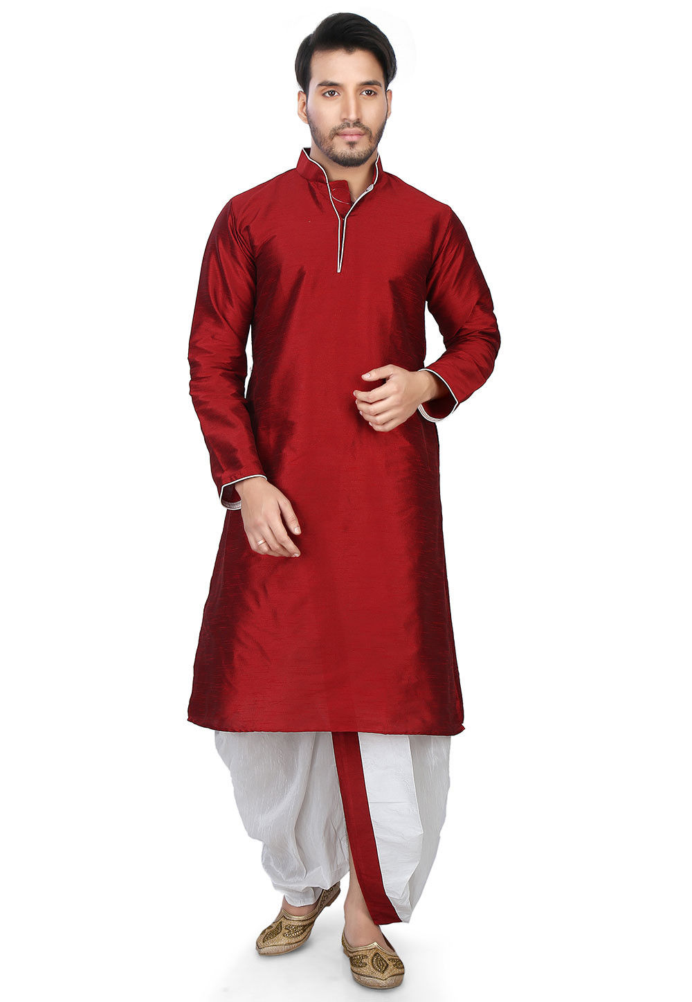Plain Art Dupion Silk Dhoti Kurta in Red