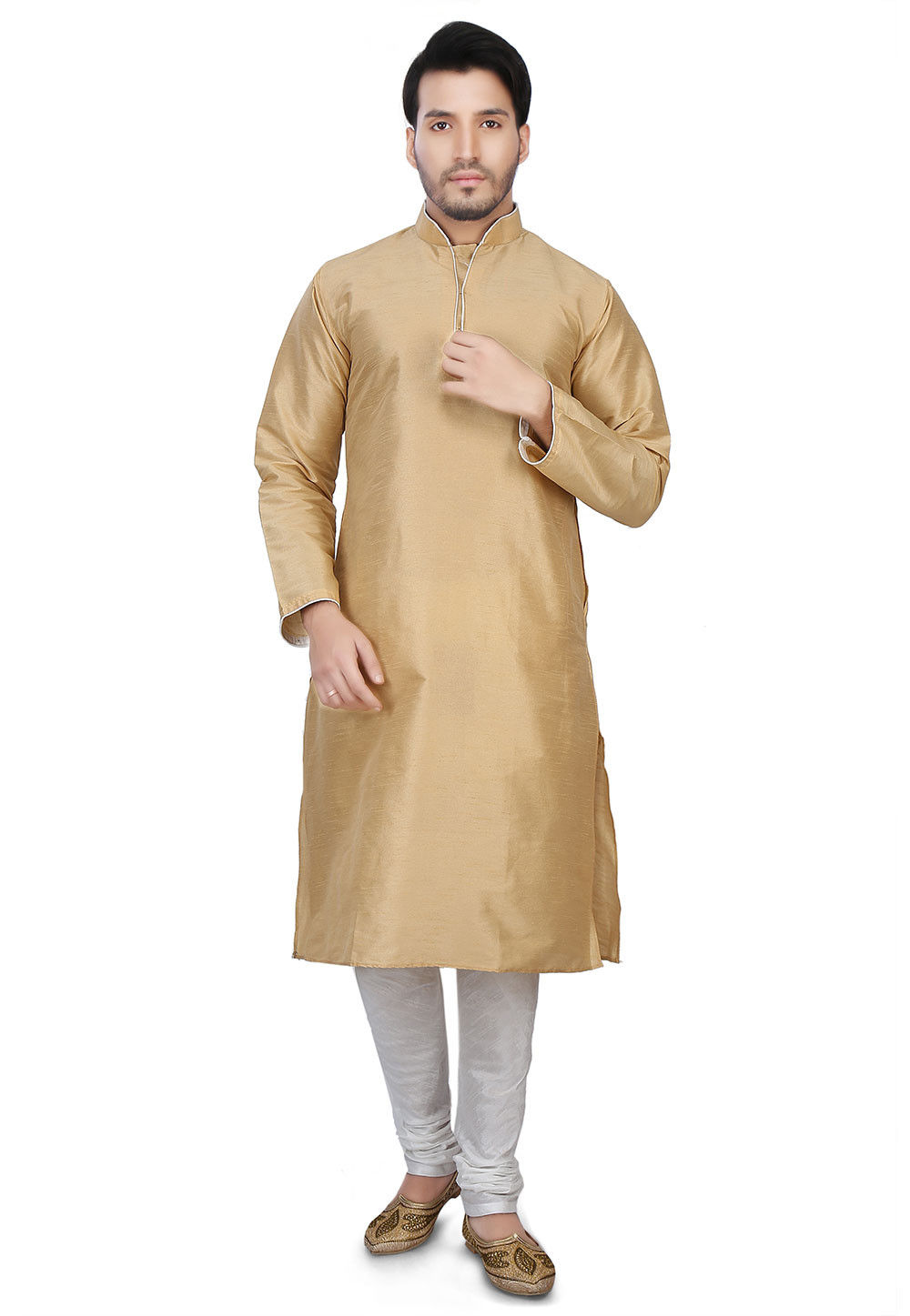 Plain Dupion Silk Kurta Set in Beige