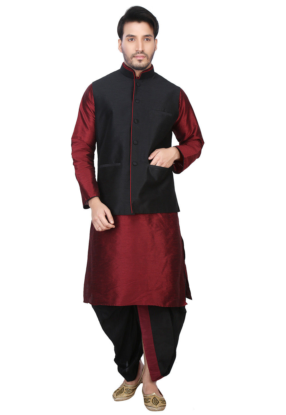 Plain Dupion Silk Dhoti Kurta with Jacket in Maroon and Black