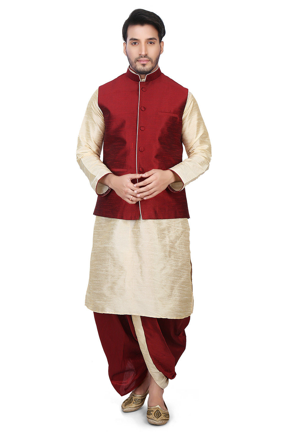 Plain Dupion Silk Dhoti Kurta with Jacket in Beige and Maroon