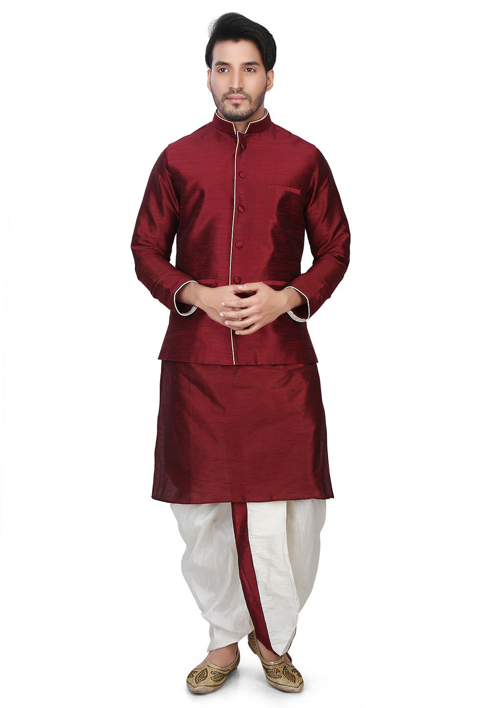 Plain Dupion Silk Dhoti Kurta with Jacket in Maroon