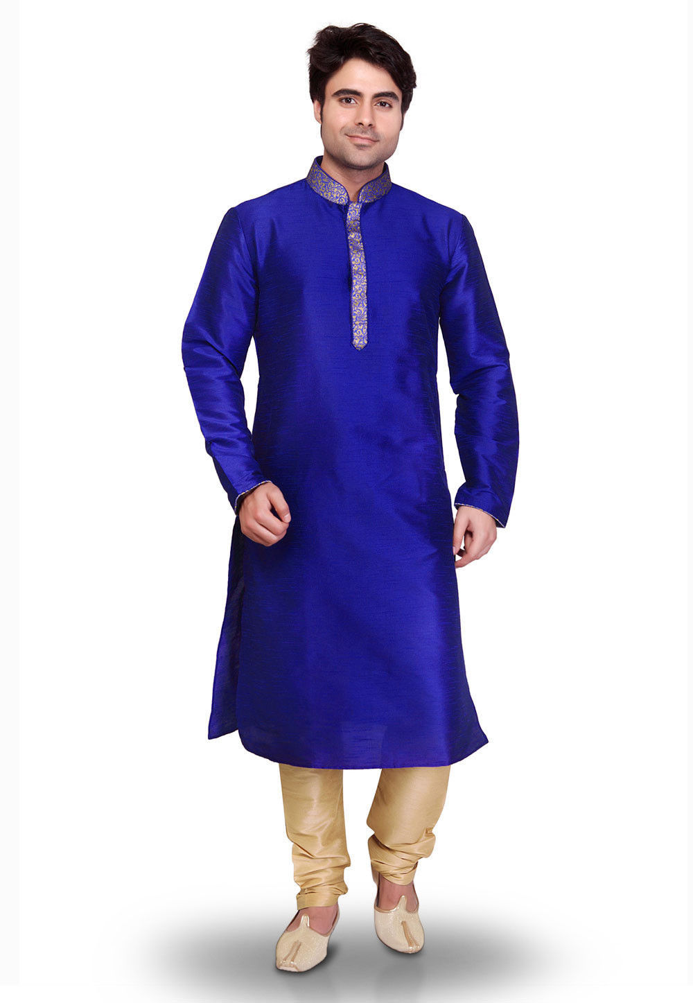 Plain Art Silk Kurta Set in Royal Blue