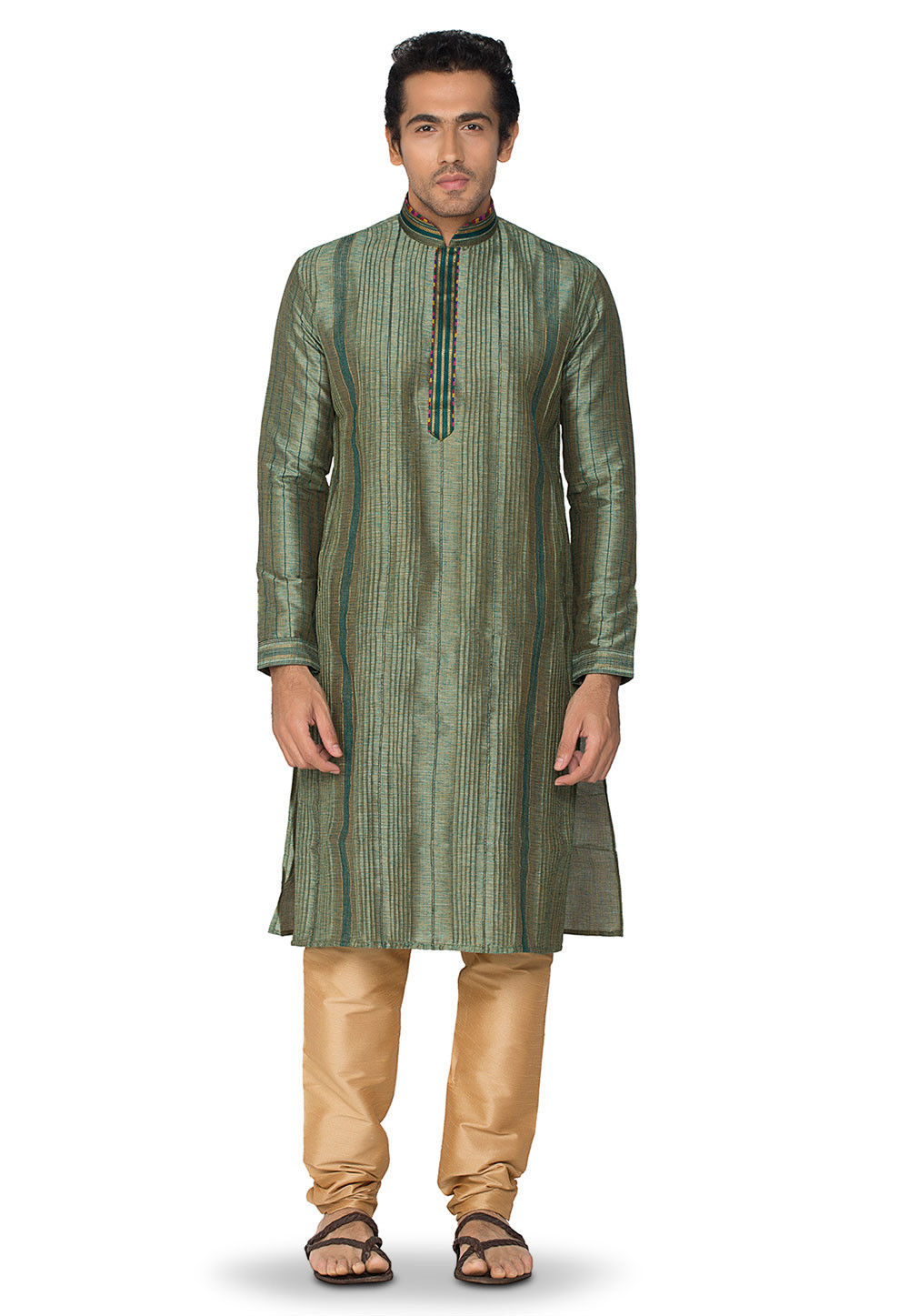 Woven Art Silk Jacquard Kurta Set in Green