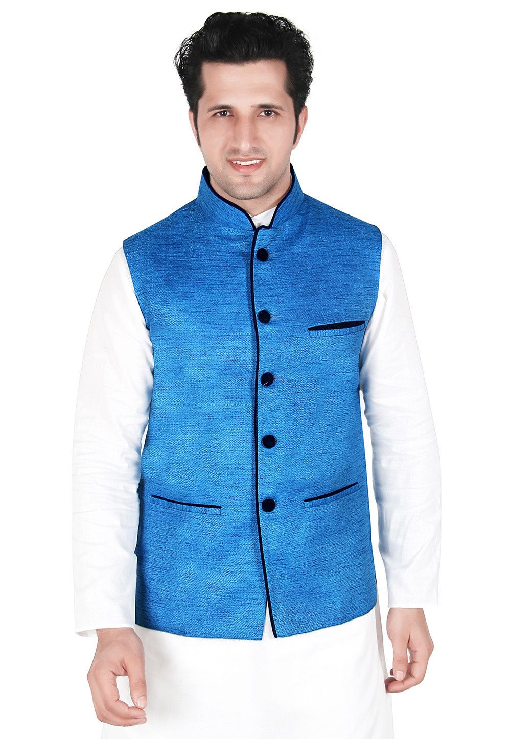 Jute Silk Nehru Jacket in Blue