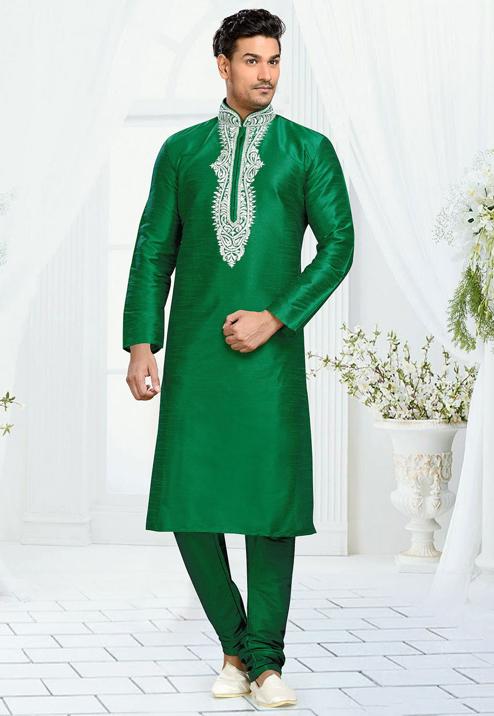 Embroidered Art Dupion Silk Kurta Set in Dark Green