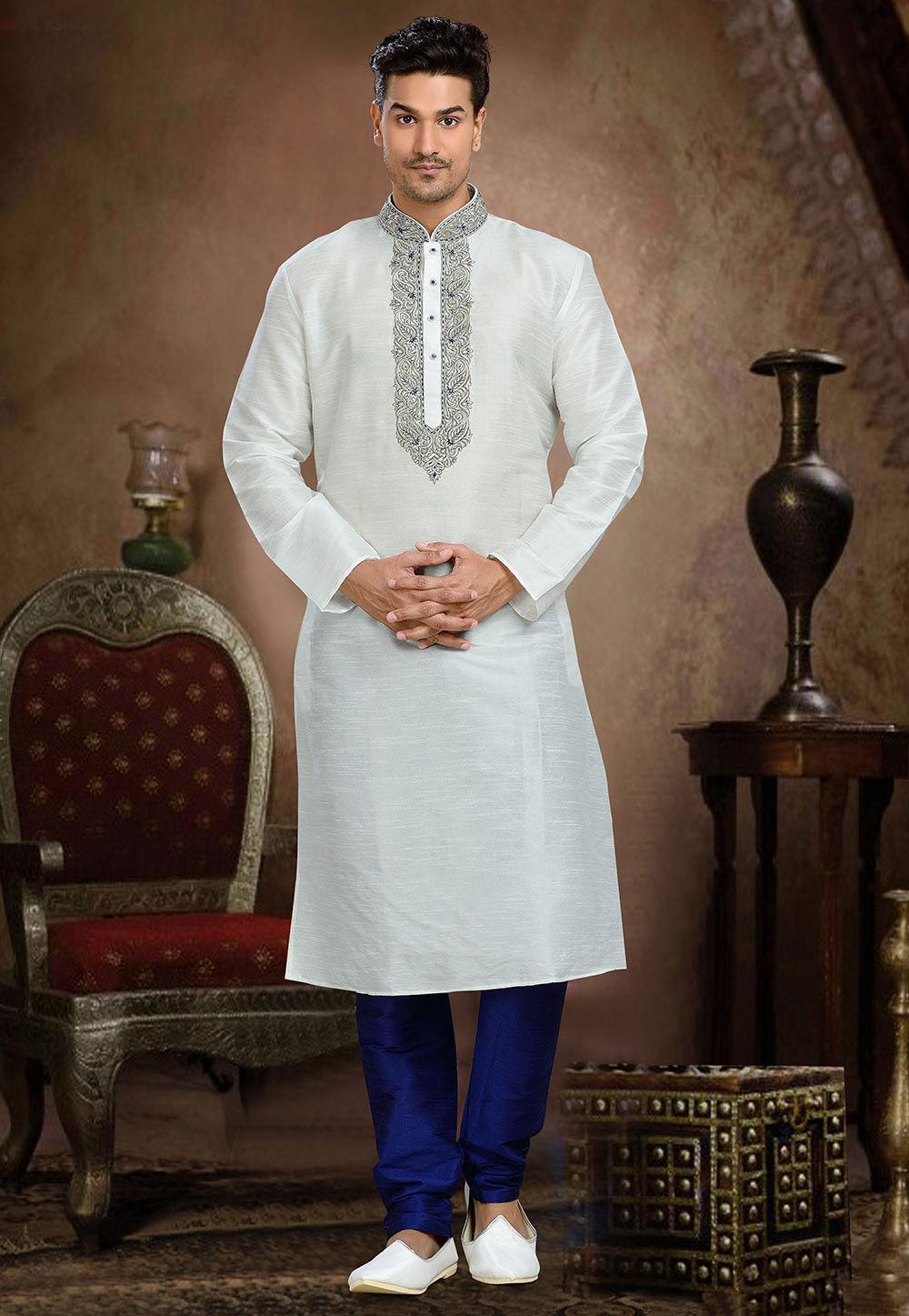 Embroidered Art Dupion Silk Kurta Set in Off White