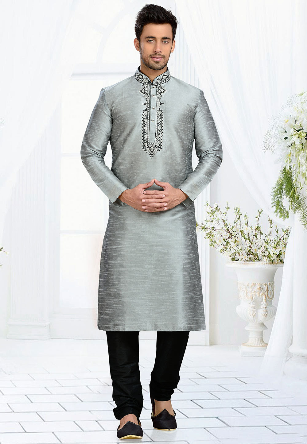 Embroidered Dupion Silk Kurta Set in Grey