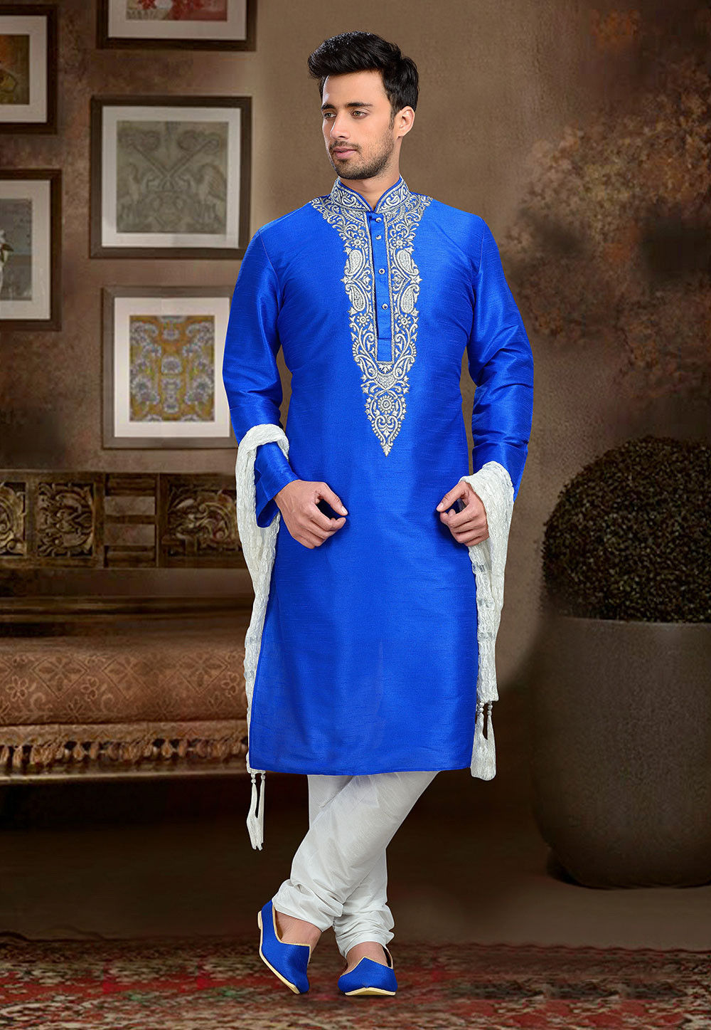 Embroidered Art Dupion Silk Kurta Set in Blue