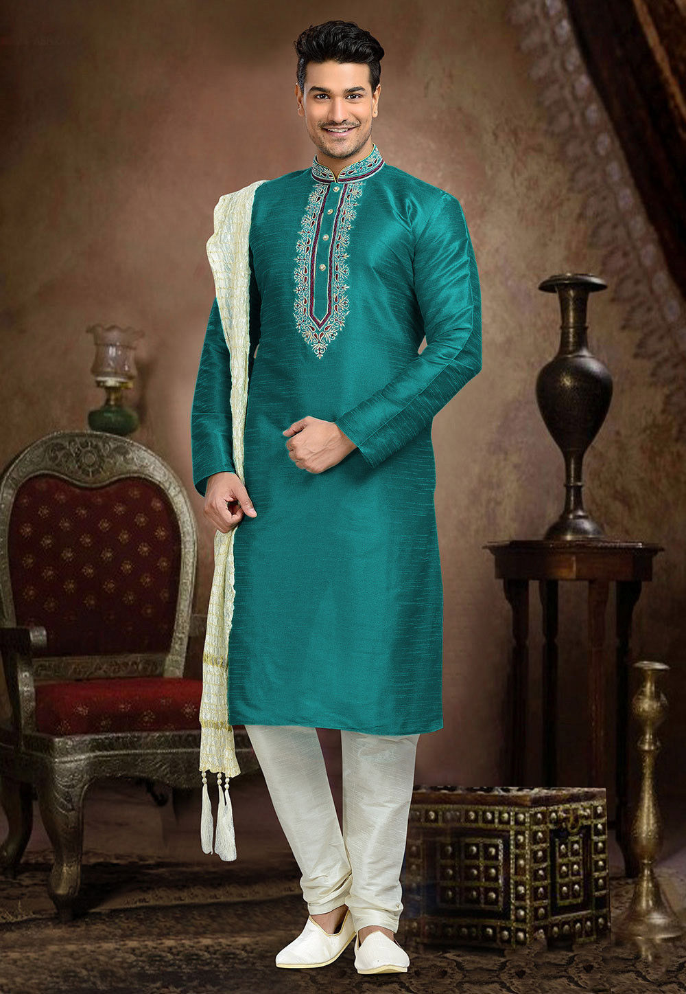 Embroidered Art Dupion Silk Kurta Set in Teal Green
