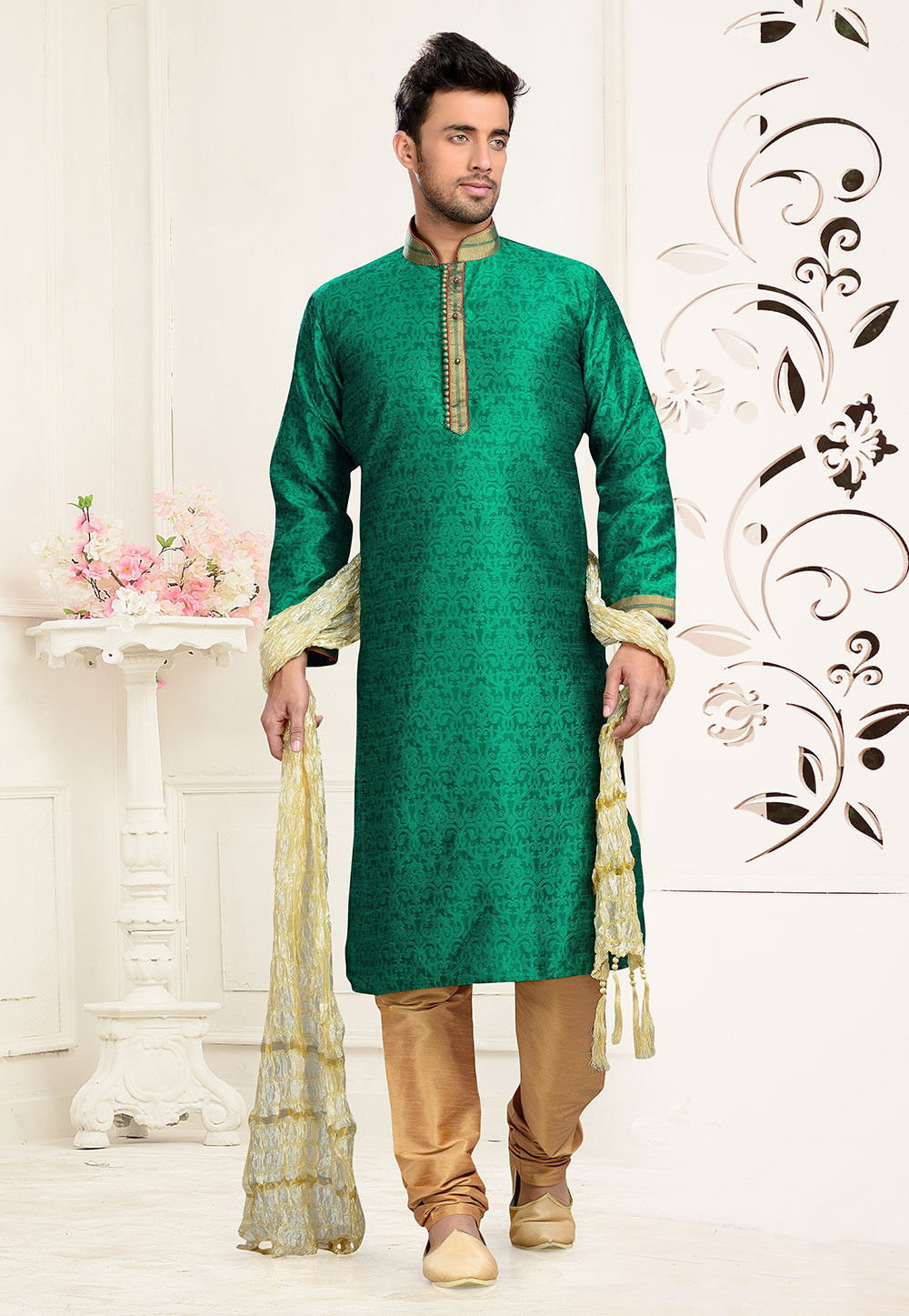 Jacquard Art Silk Kurta Set in Green