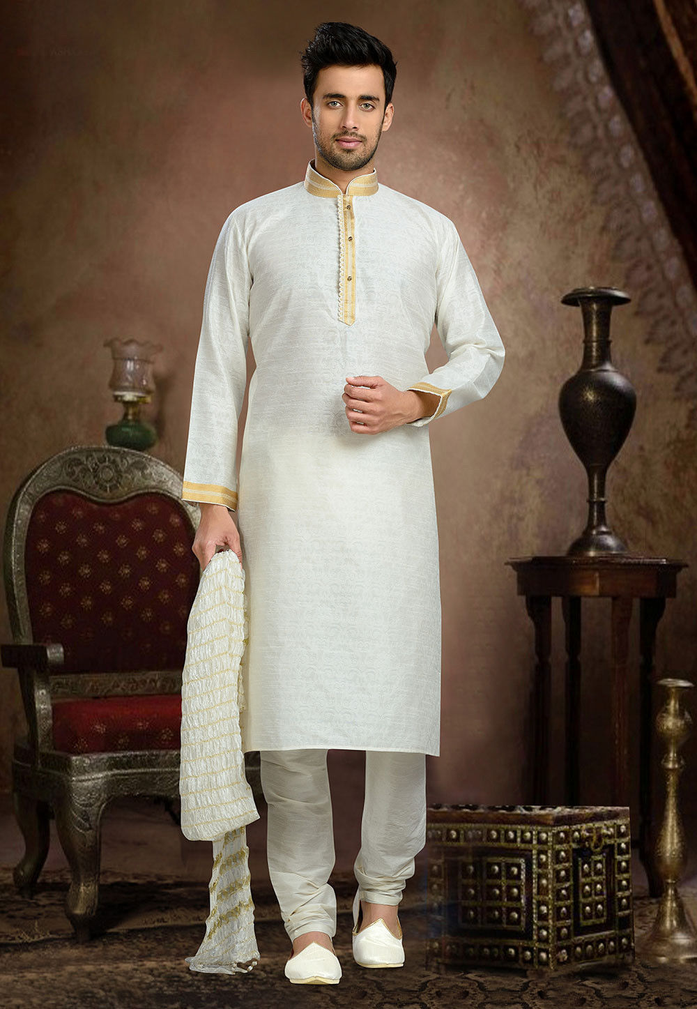 Jacquard Art Silk Kurta Set in Off White