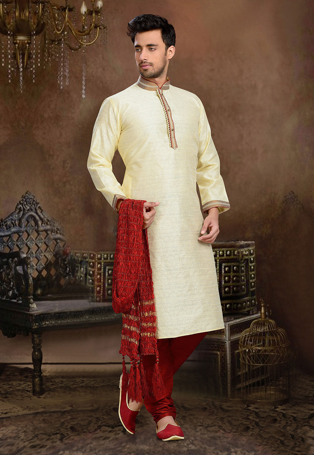Jacquard Art Silk Kurta Set in Light Beige