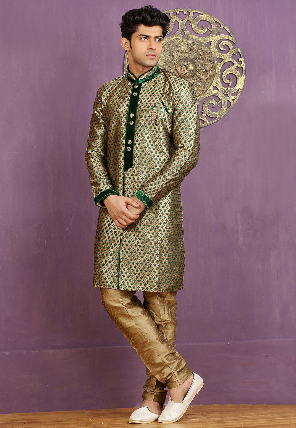 Woven Art Silk Jacquard Sherwani in Beige and Green