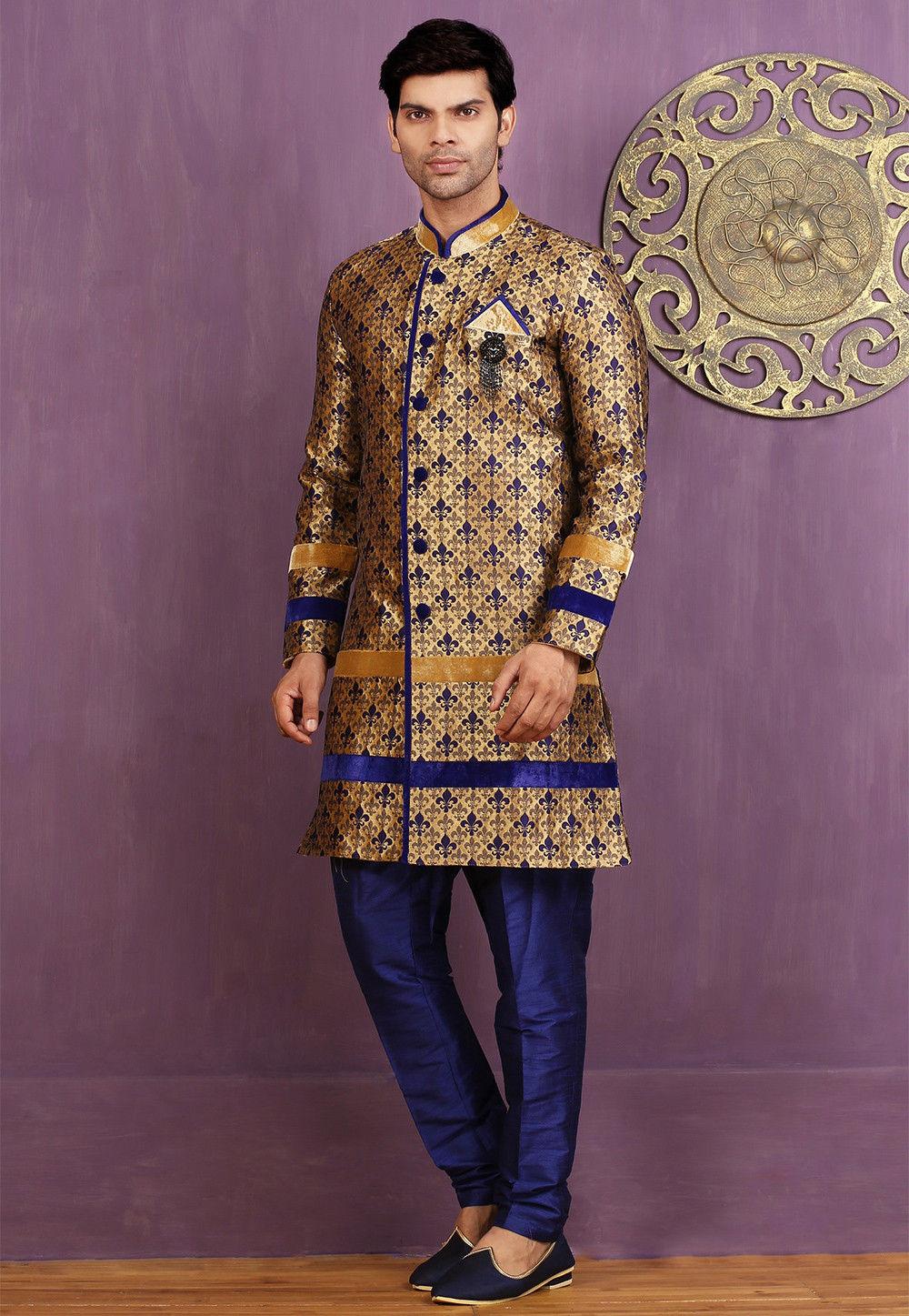 Woven Art Silk Jacquard Sherwani in Beige and Blue