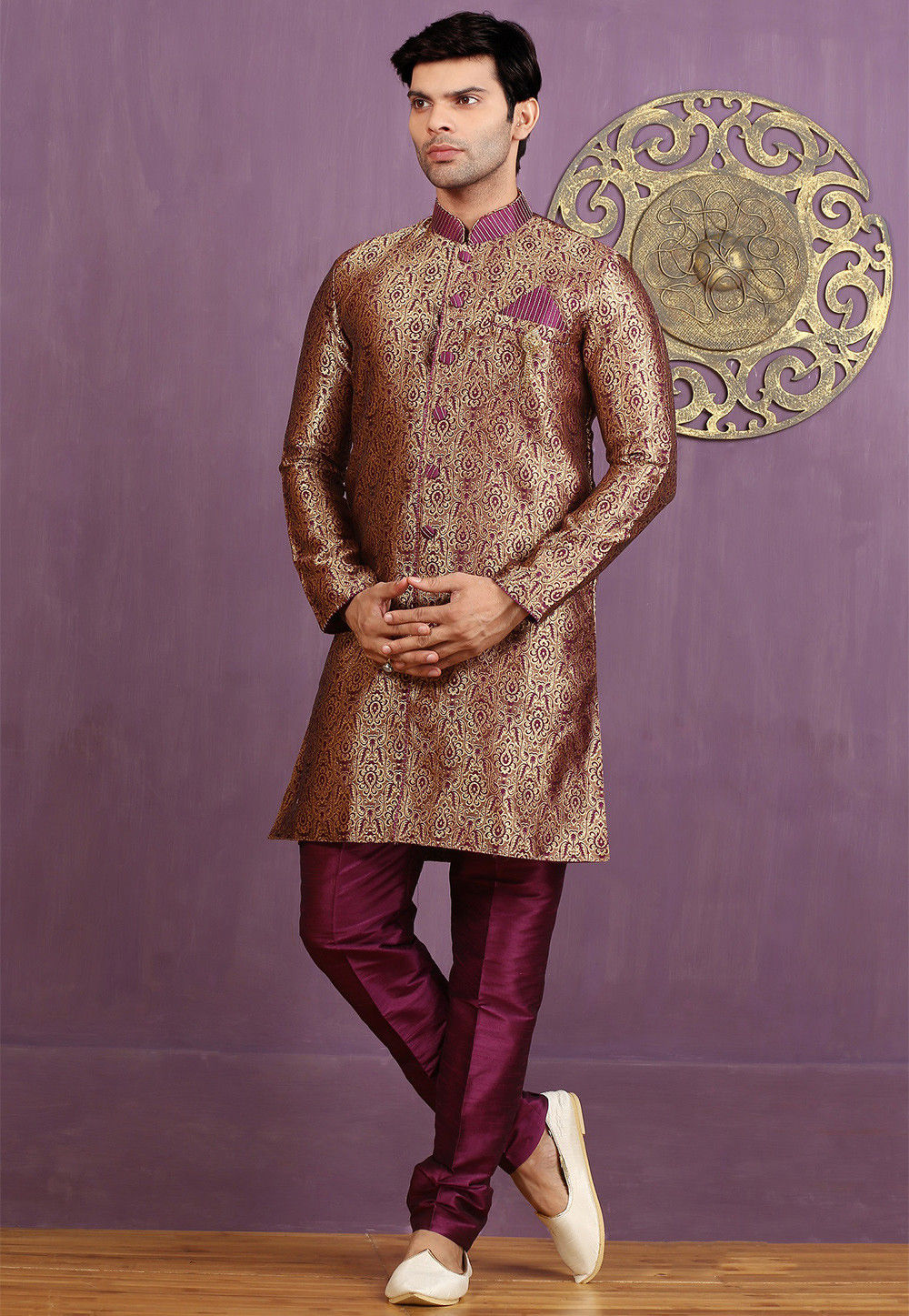 Woven Art Silk Jacquard Sherwani in Rose Gold