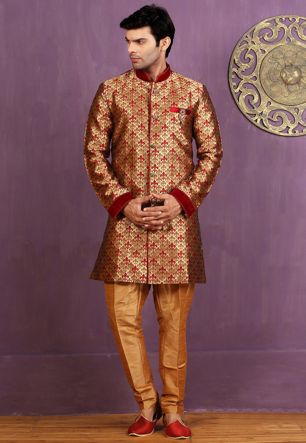 Woven Art Silk Jacquard Sherwani in Beige and Maroon