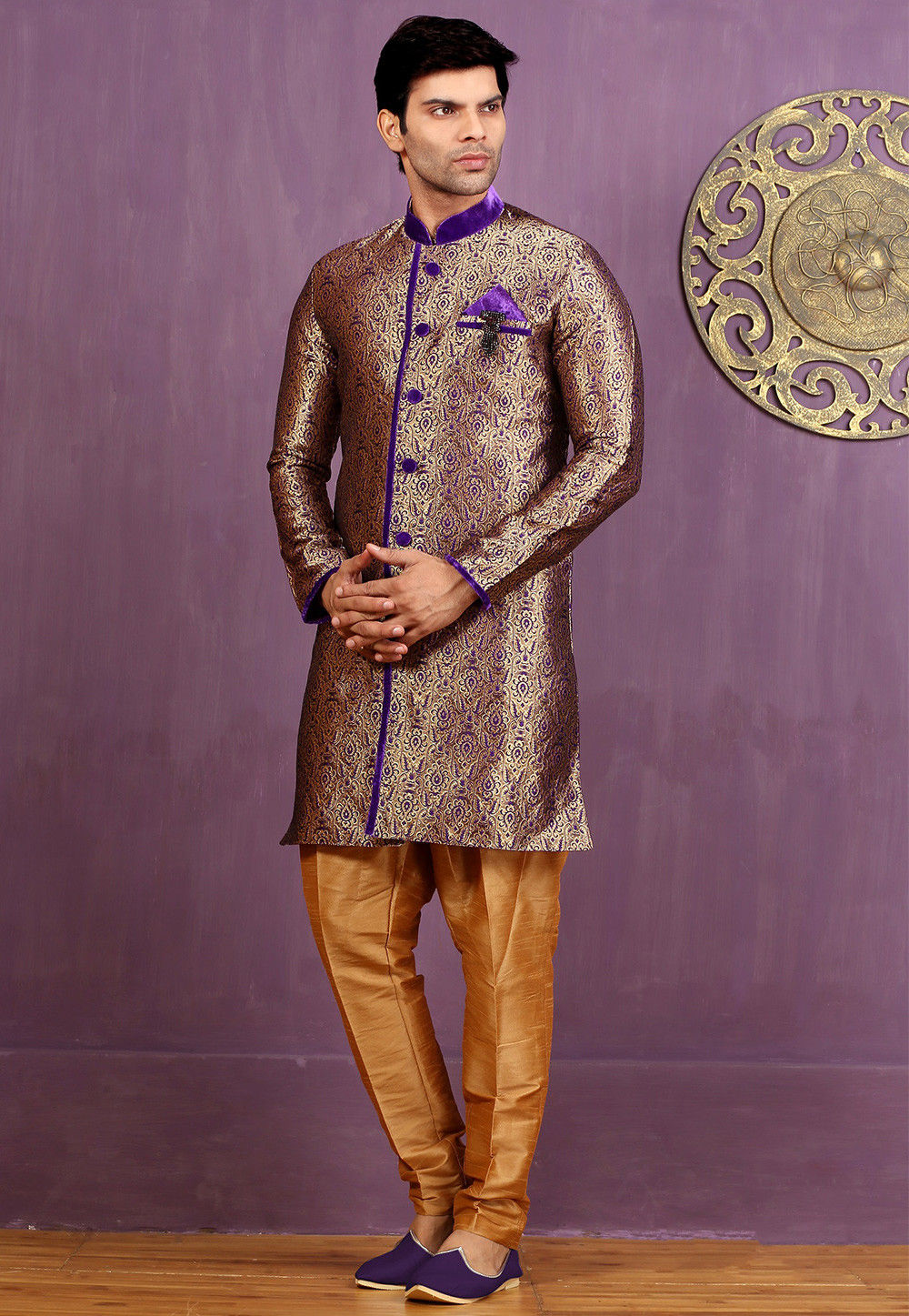 Woven Art Silk Jacquard Sherwani in Beige and Purple