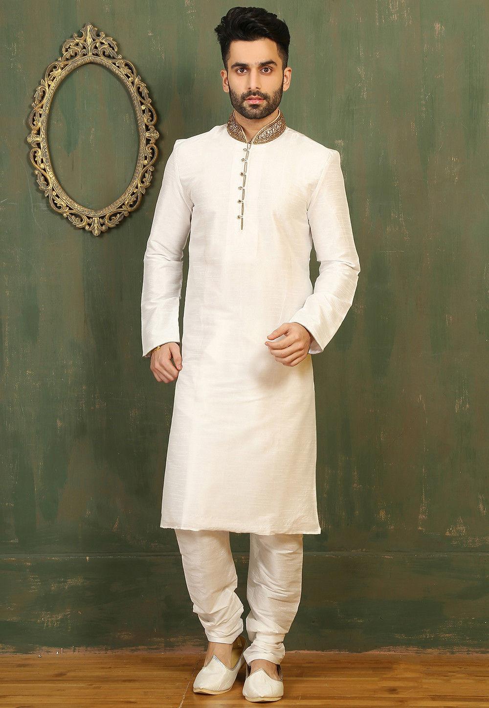 Plain Dupion Silk Kurta Set in Off White