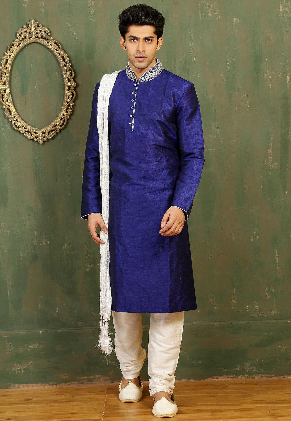 Plain Dupion Silk Kurta Set in Blue