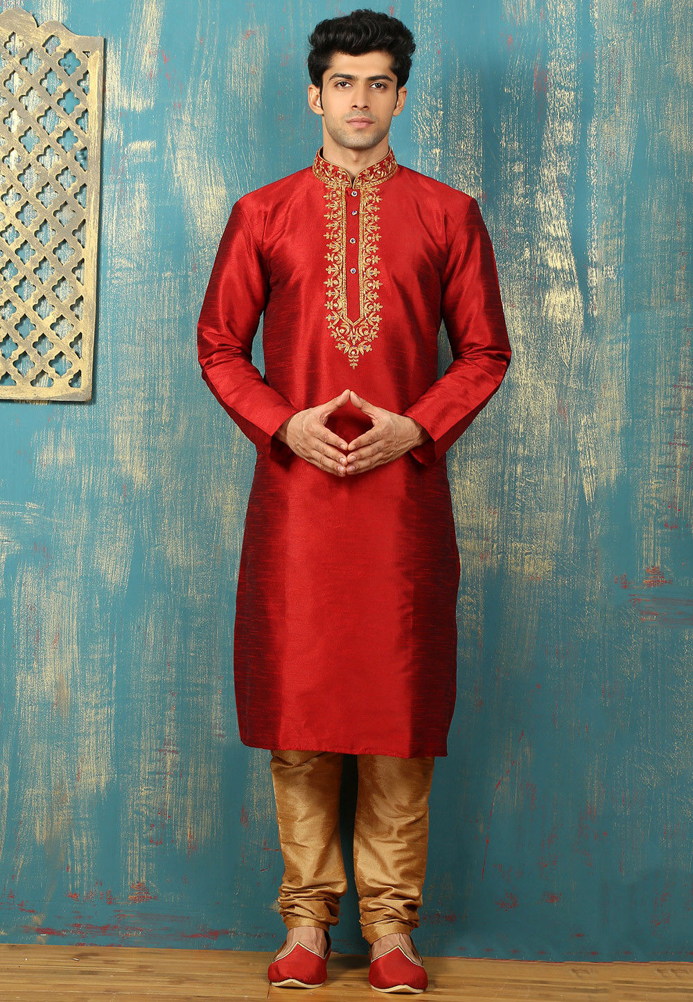 Plain Dupion Silk Kurta Set in Red
