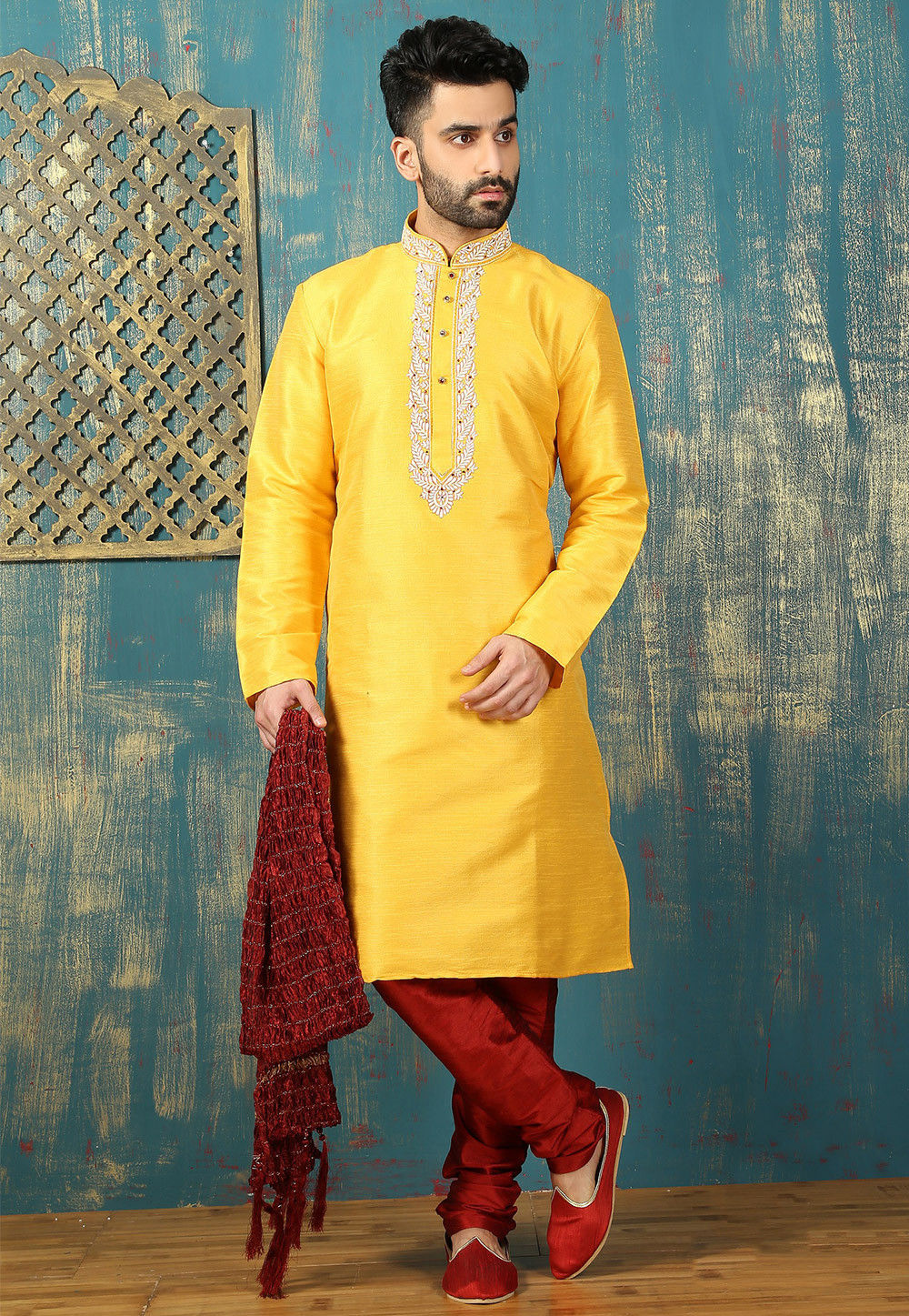 Plain Dupion Silk Kurta Set in Yellow