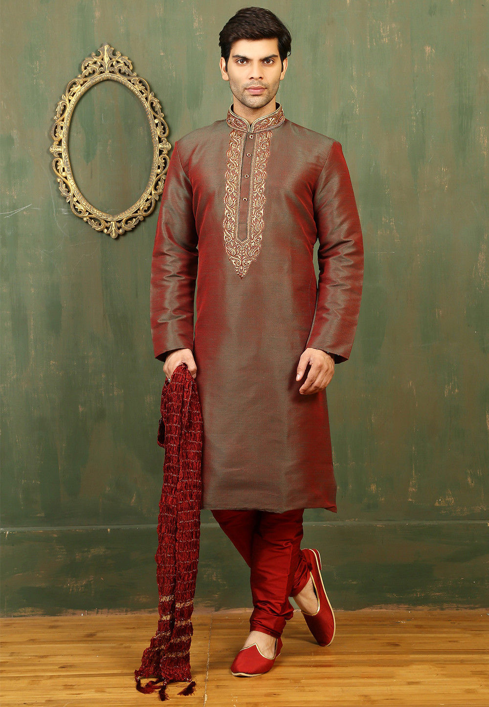 Plain Dupion Silk Kurta Set in Green and Red