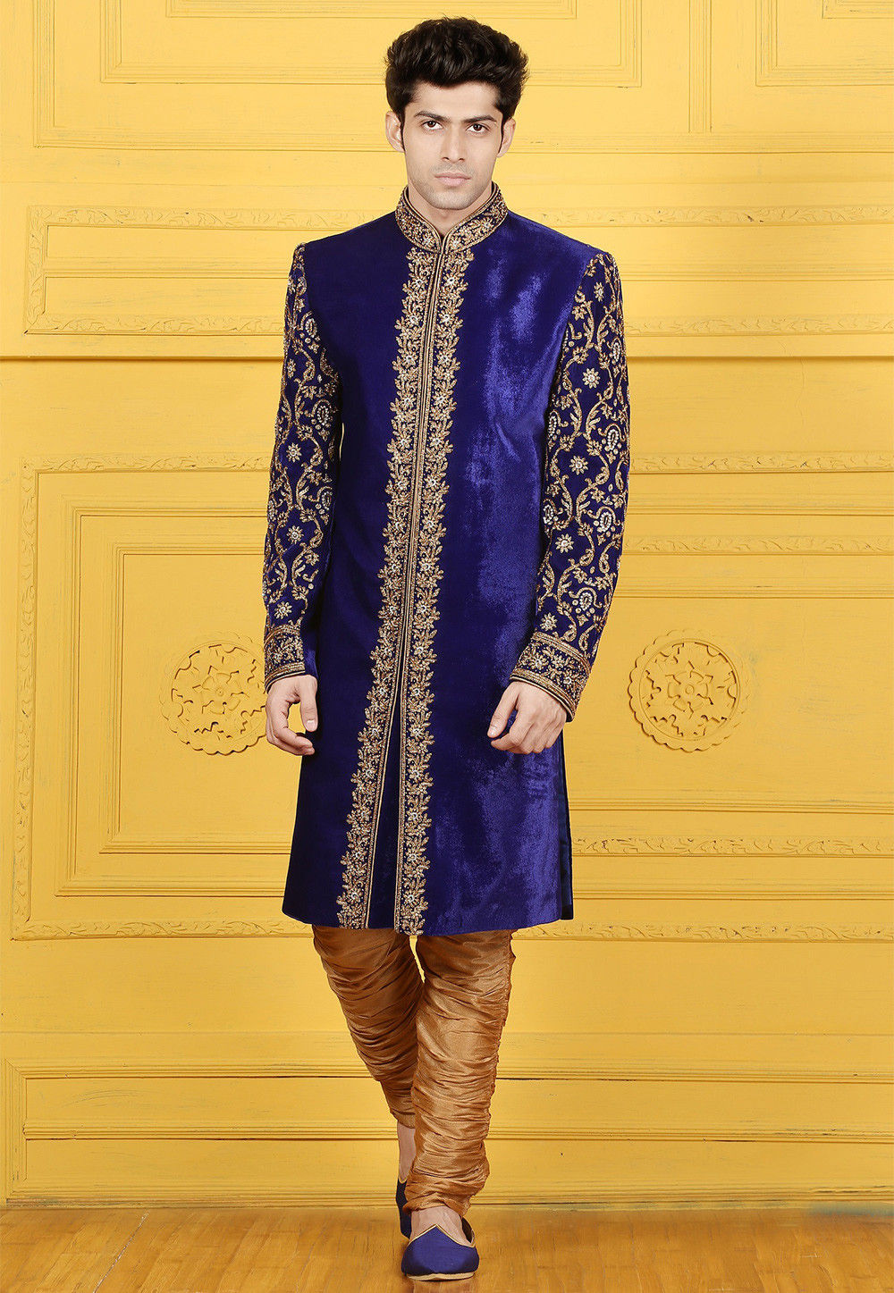 Hand Embroidered Velvet Sherwani in Royal Blue