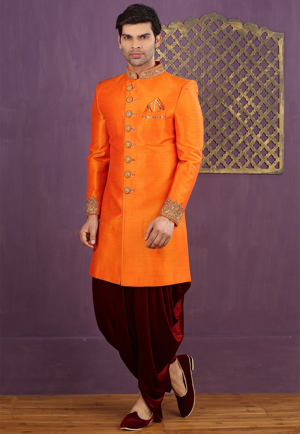 Hand Embroidered Art Silk Dhoti Sherwani in Orange