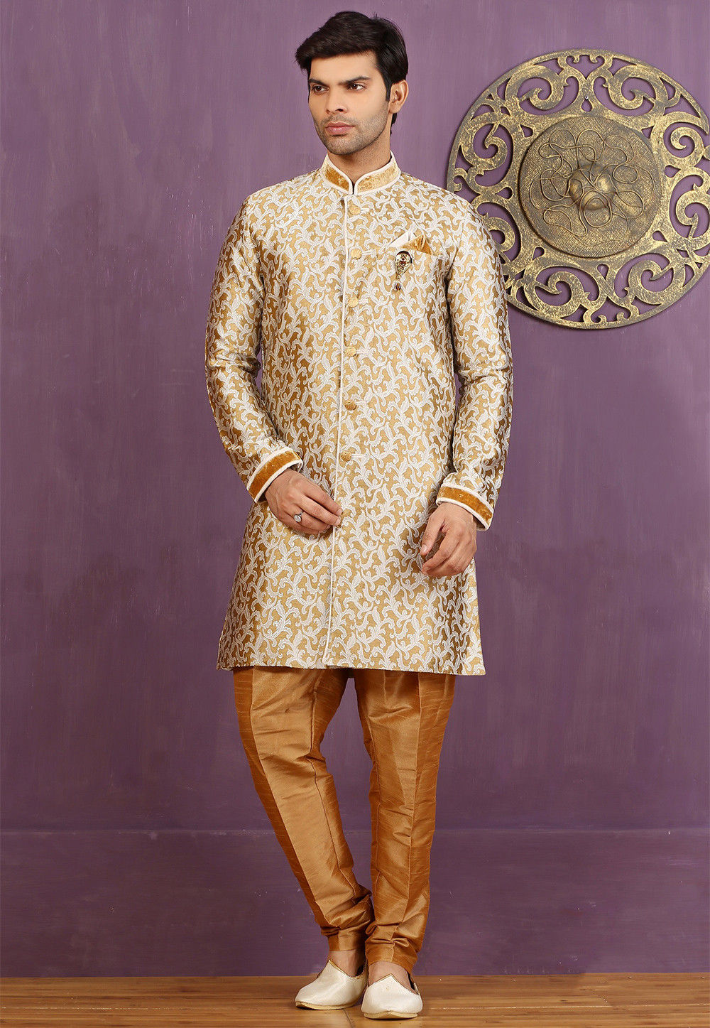 Woven Brocade Silk Sherwani in Golden