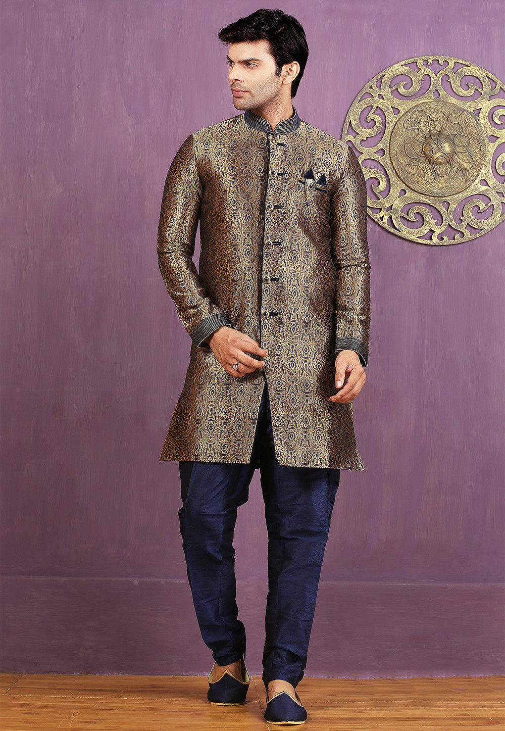 Woven Brocade Silk Sherwani in Copper