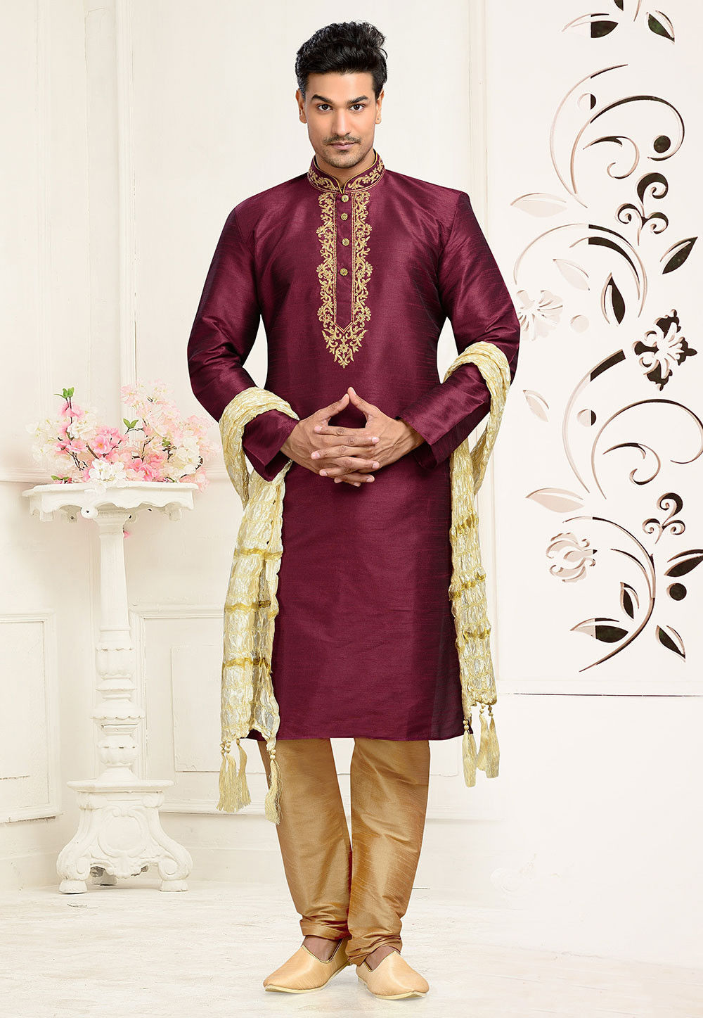 Embroidered Dupion Silk Kurta Set in Wine