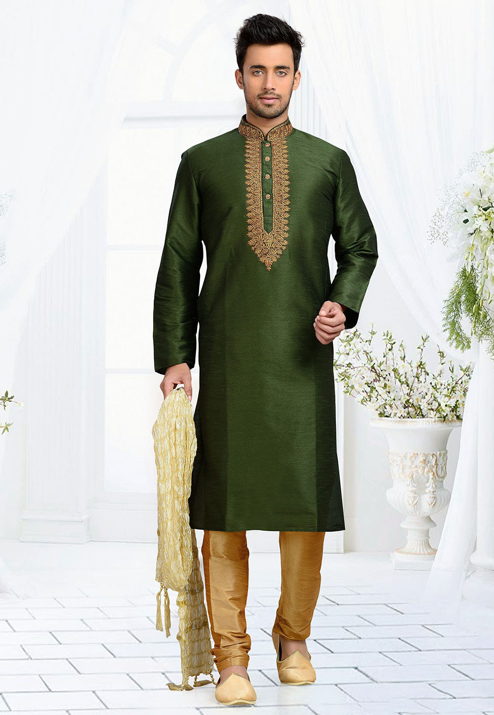 Embroidered Dupion Silk Kurta Set in Green
