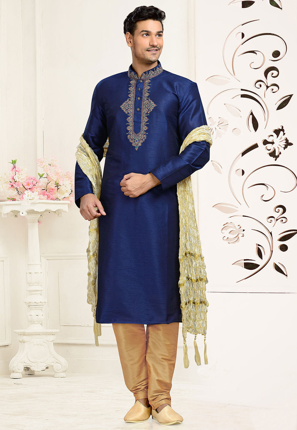 Embroidered Art Dupion Silk Kurta Set in Navy Blue
