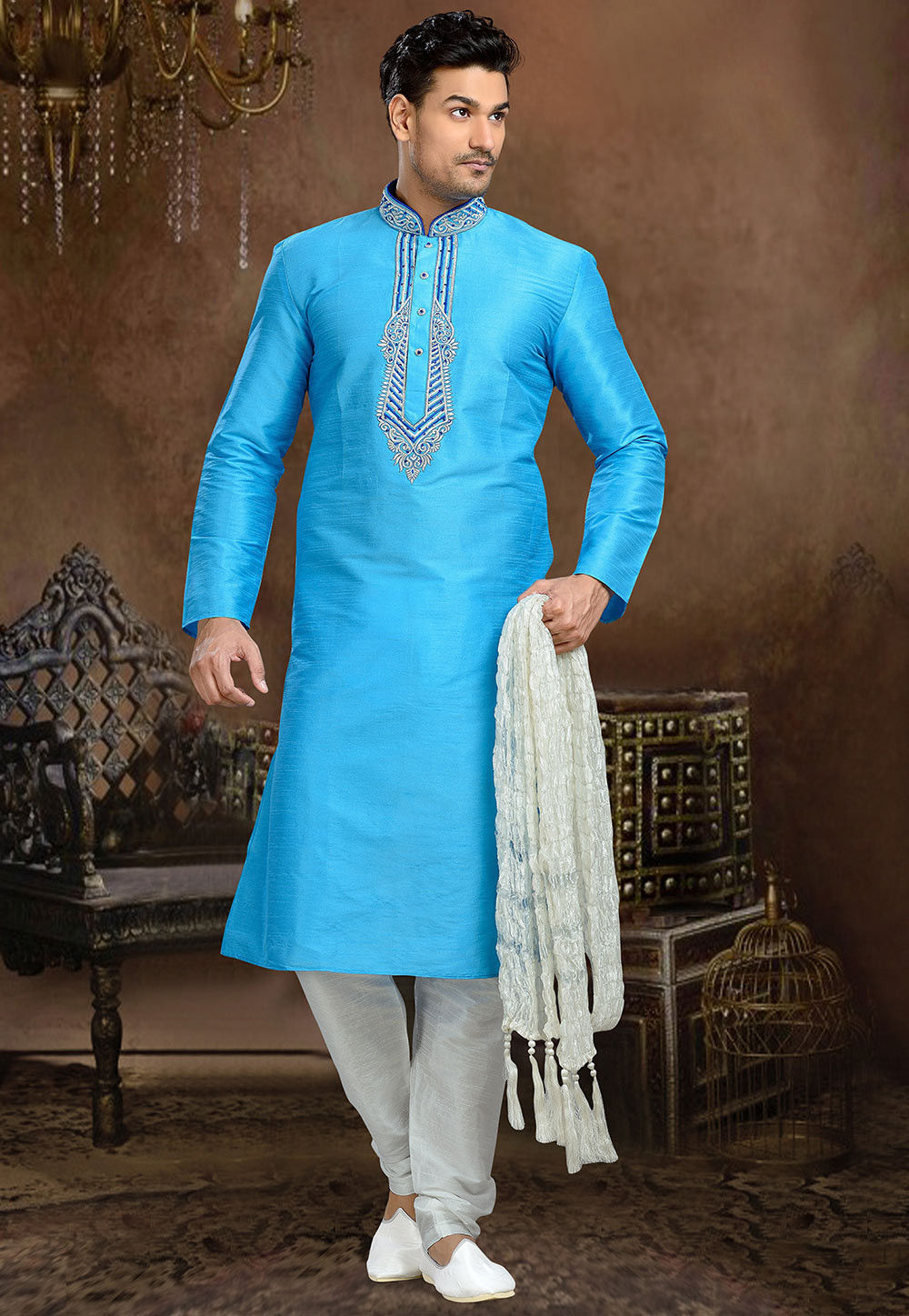 Embroidered Art Dupion Silk Kurta Set in Light Blue
