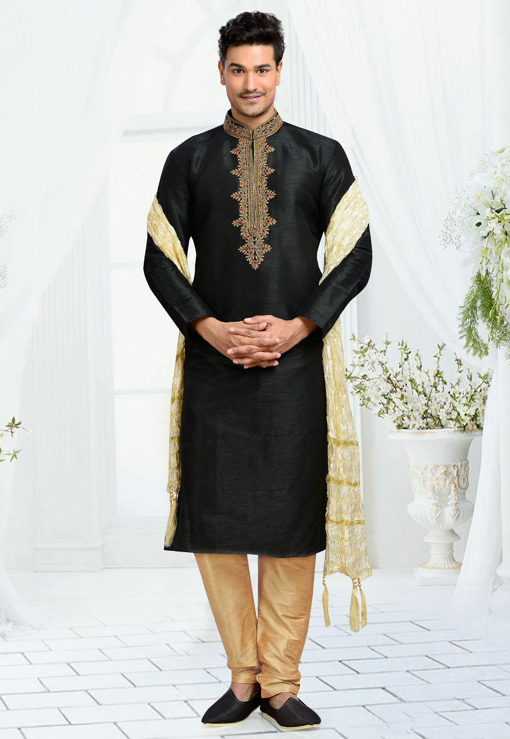 Embroidered Art Dupion Silk Kurta Set in Black