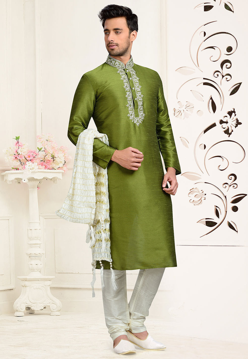 Embroidered Art Dupion Silk Kurta Set in Olive Green