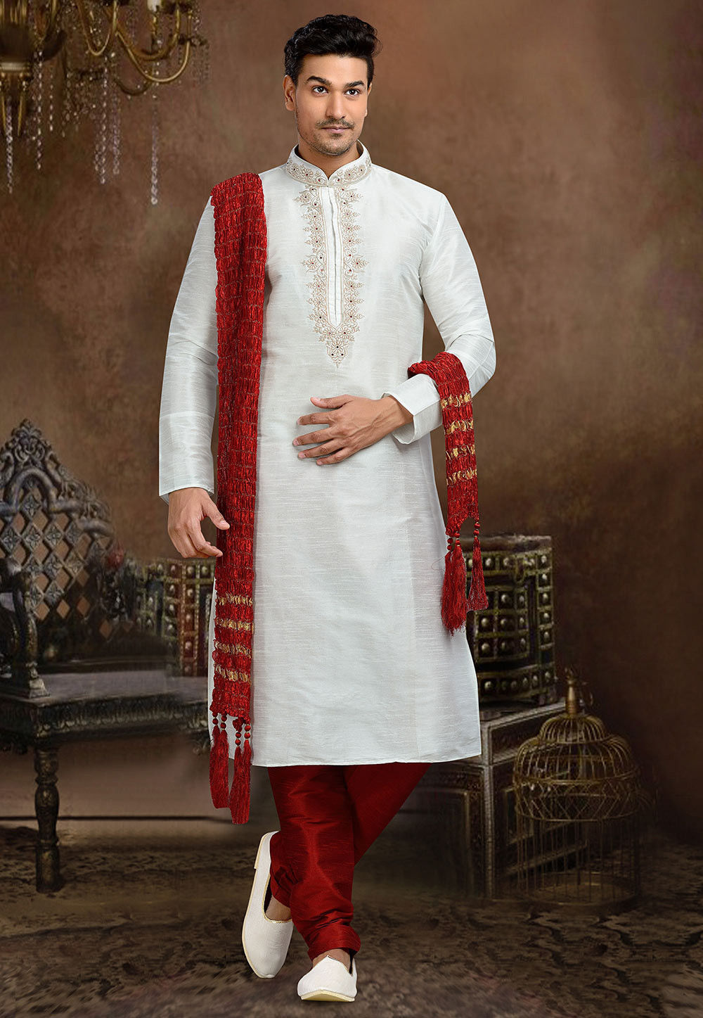 Embroidered Art Dupion Silk Kurta Set in Off White