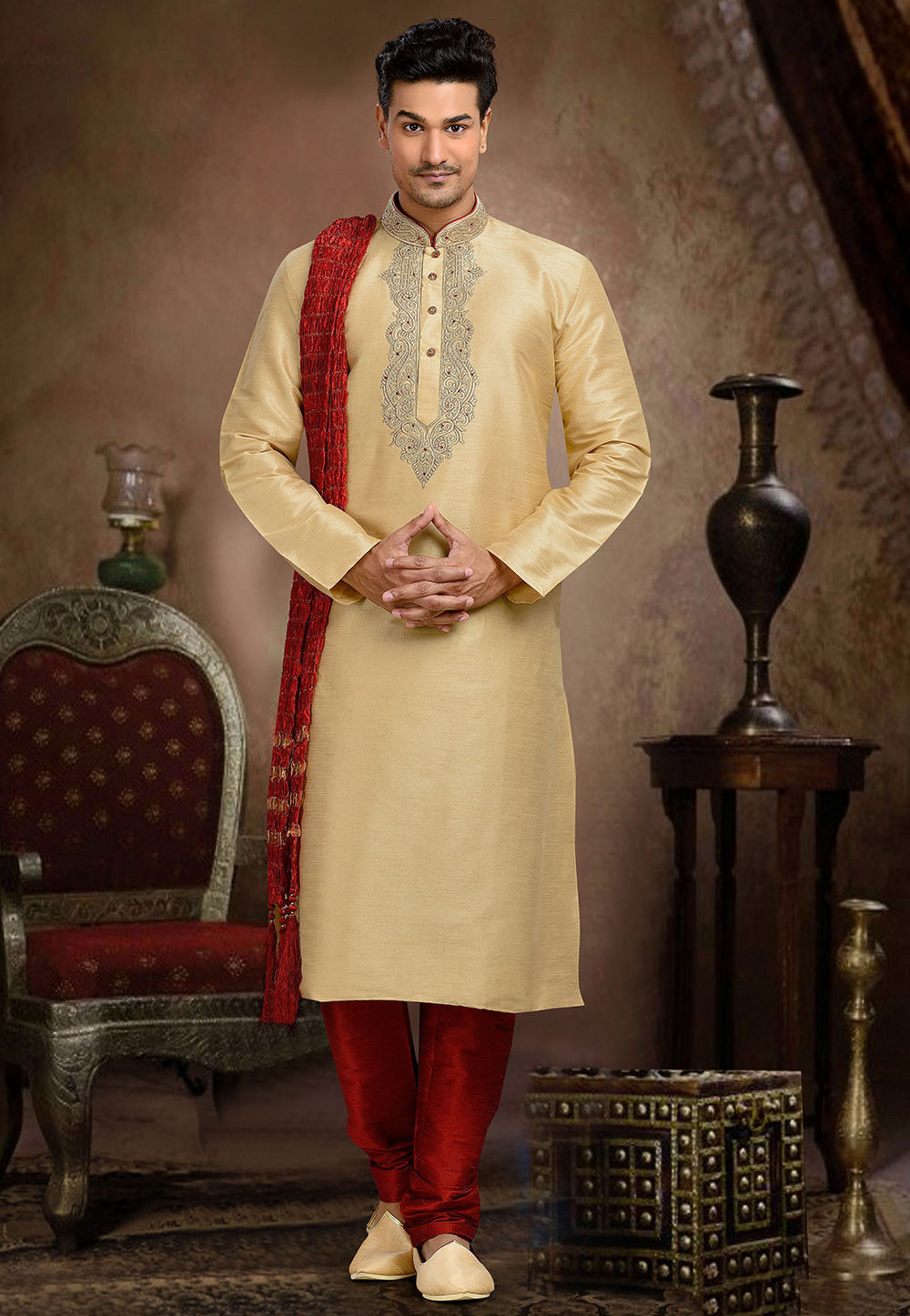 Embroidered Art Dupion Silk Kurta Set in Beige