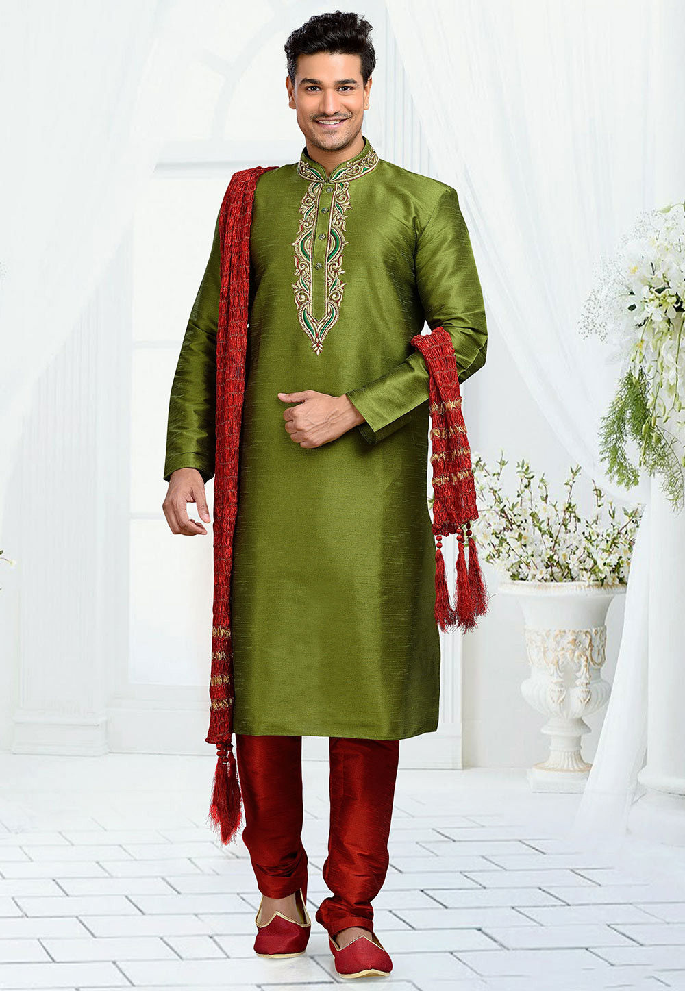Embroidered Art Dupion Silk Kurta Set in Green