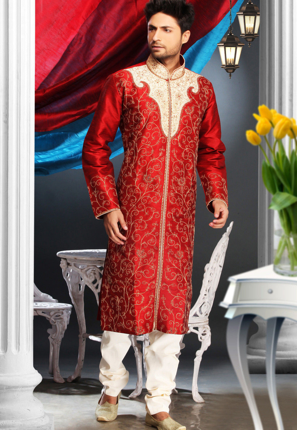 Embroidered Dupion Silk Kurta Churidar in Red