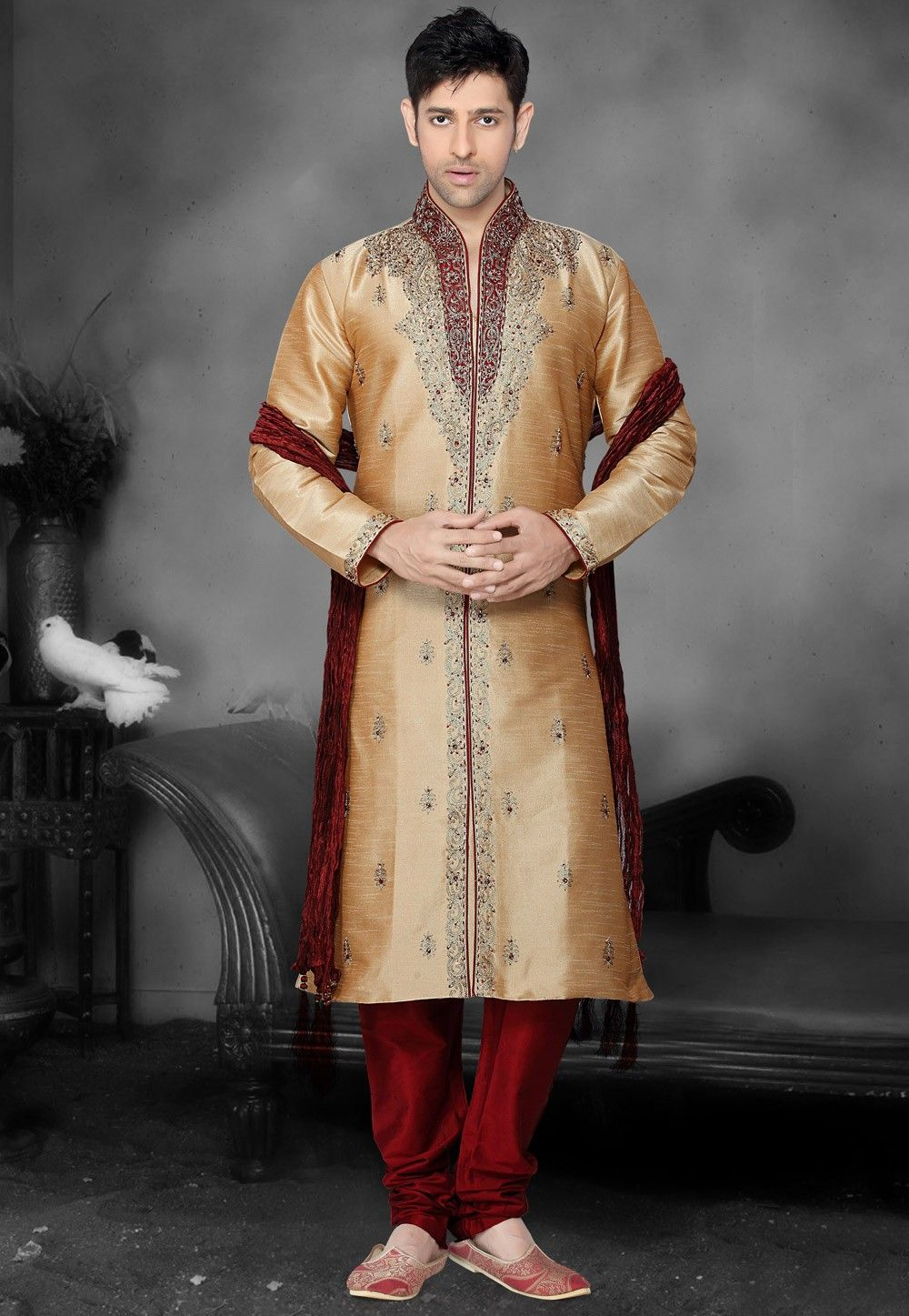 Embroidered Dupion Silk Kurta Churidar in Beige