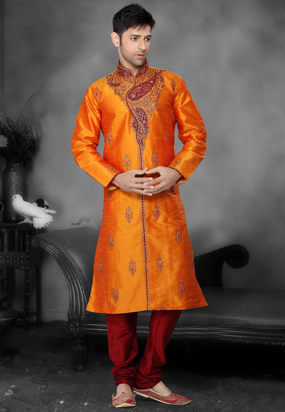 Embroidered Dupion Silk Kurta Churidar in Orange