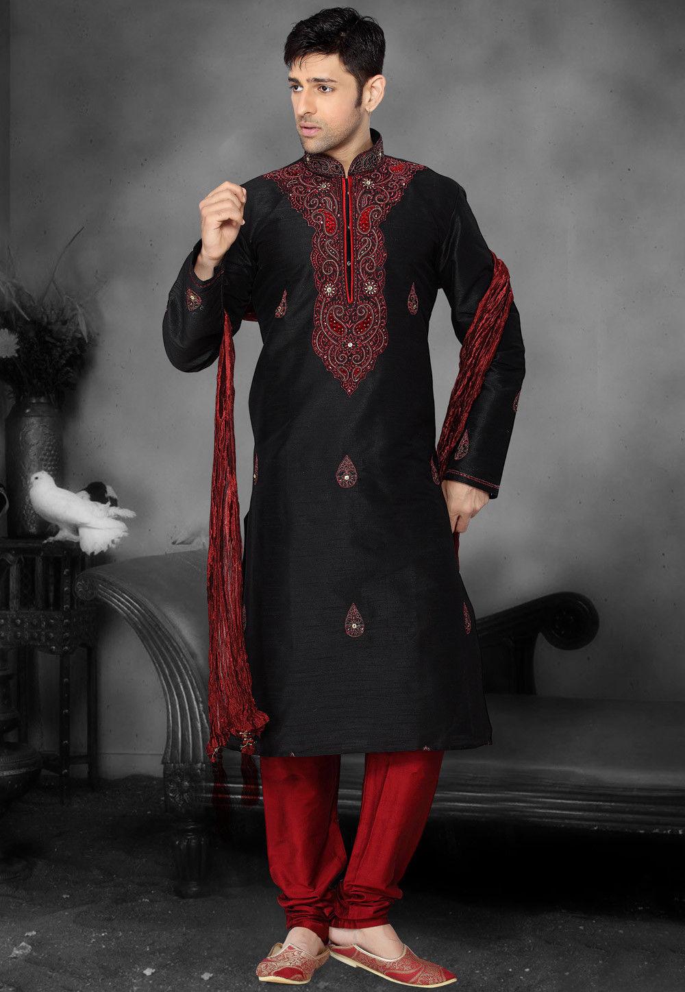 Embroidered Art Silk Kurta Set in Black