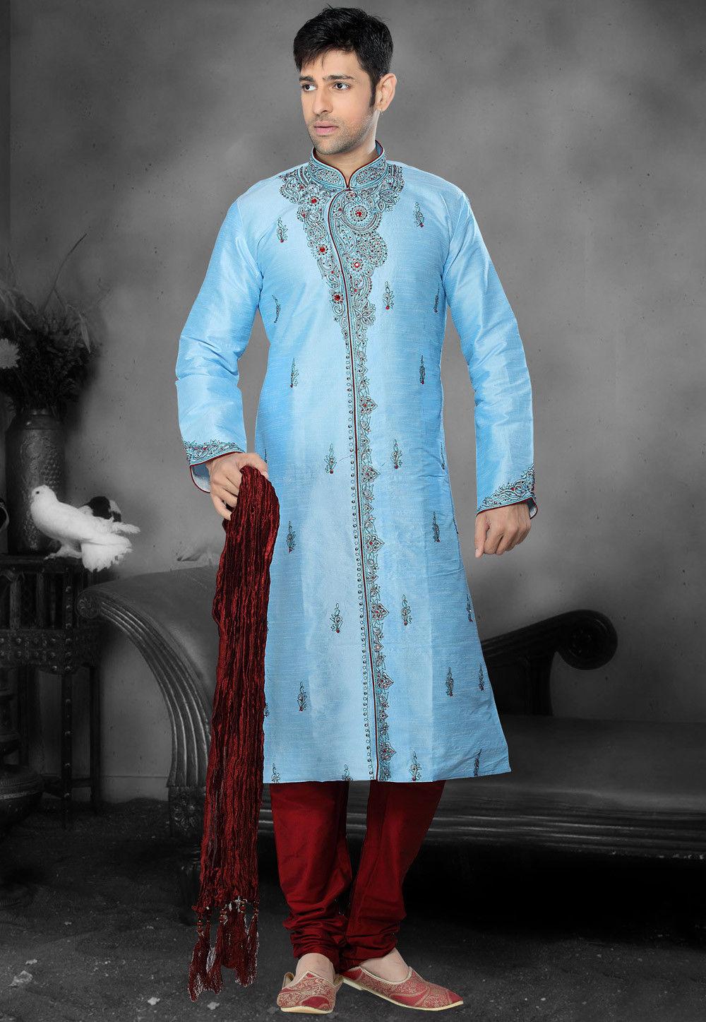 Embroidered Dupion Silk Kurta Churidar in Sky Blue
