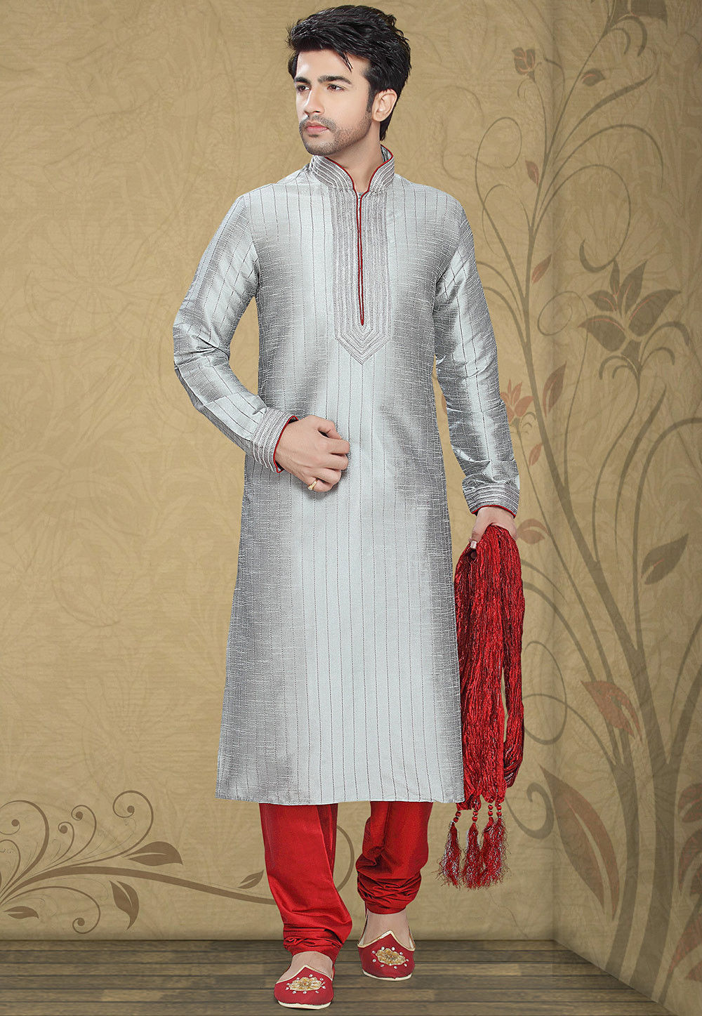 Embellished Art Silk Kurta Churidar in Grey