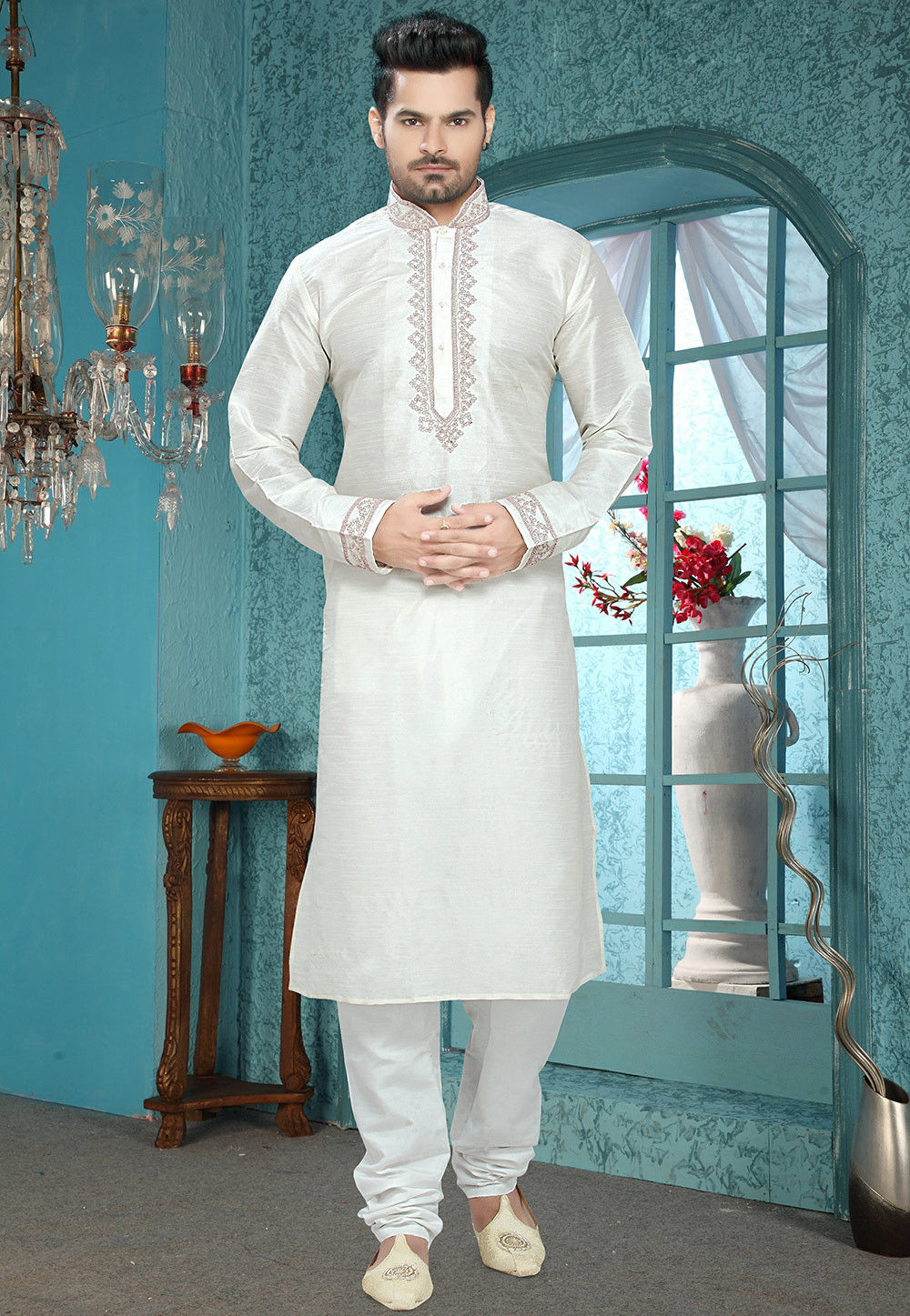 Embroidered Art Silk Kurta Churidar in White