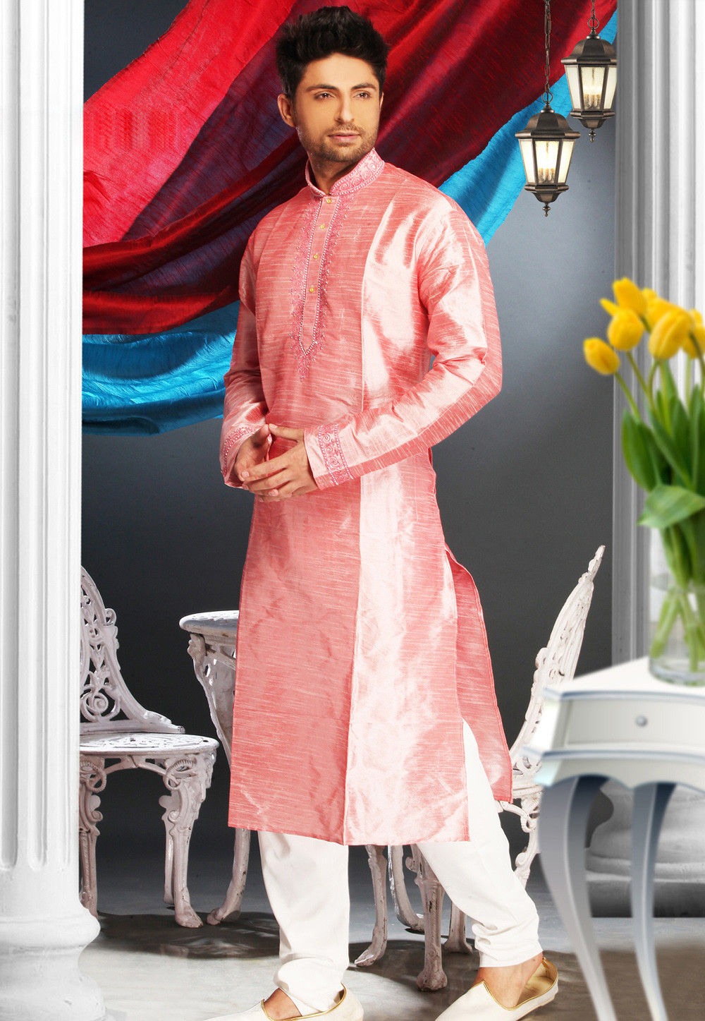 Embroidered Art Silk Kurta Churidar in Old Rose